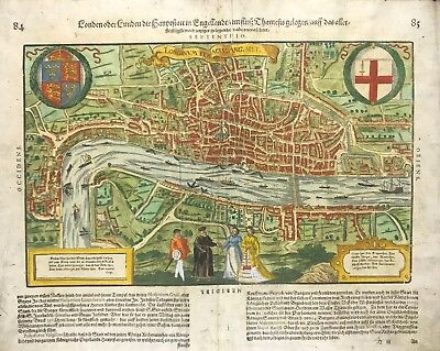 1611 King James Bible London Map - Hand Coloured - Shakespeare's Golbe Theatre