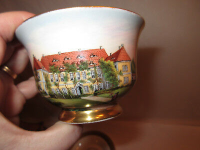 Antique German Porcelain Meissen Hand Painted Cup & Saucer-Dated 1856