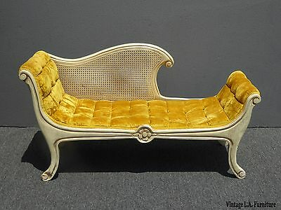 Vintage French Provincial Country White Cane & Gold Tufted Velvet Bench Settee