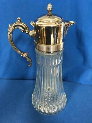 Antique Glass Pitcher, Vintage with Silver Top and Handle