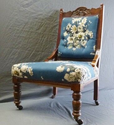 Beautiful Antique Victorian Button Back Upholstered Nursing Chair On Castors
