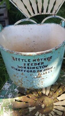 Rare Antique Farm Salvaged Animal Feeder Cast Iron 'Little Mother' Patent 428403