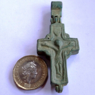 Ancient Artifact Bronze Medieval Massive Encolpion Cross Crucifix With Saints