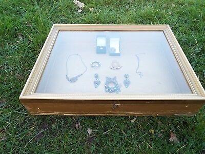 Vintage Glass Display Case Jewellery Cabinet Collectors Items Lift Top Toughened