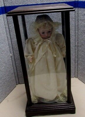 Antique Wood & Glass Display Case With Bisque Head Doll