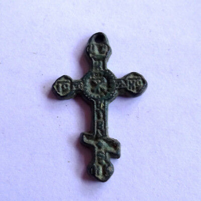 Ancient Artifact Bronze Medieval Very Small Cross With Ic Xc