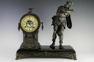 Large Antique New Haven 8 Day T & S Warrior Statue Clock Exposed Escapement