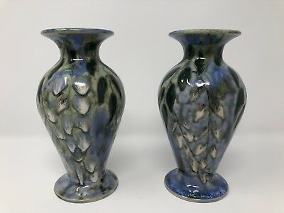 "Pair of Cobridge 6"" Pussywillow Vases by Anita Harris"