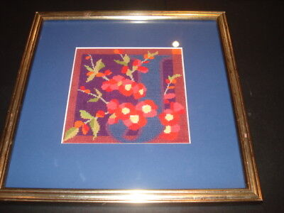 TEXTILE TAPESTRY FRAMED PICTURE Bright Colours with Blue Border Framed + Glass