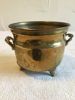 Antique Or Brass Planter / Pot Two Handles And Three Legs
