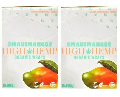 High Hemp Maui Mango Organic Wraps 2 Box 50 Pouch (100 Wraps) NON GMO