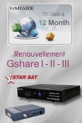 Renew Gshare 1 Year official Server / Starsat / Geant / Qviart...etc