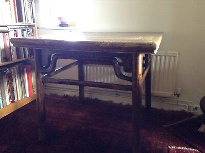 Antique Chinese Elmwood Dining Table Rustic Solid 19th Century