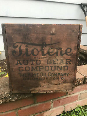 Rare Antique Tiolene Auto Gear Compound Wooden Crate 4 Sided Pure Oil Co!!