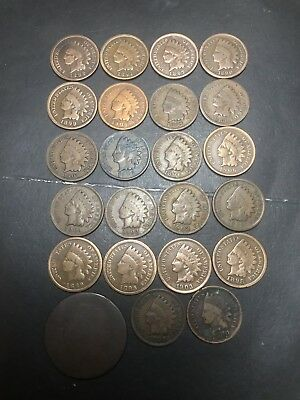 22 Indian Head Pennies And One Large Cent