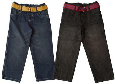Boys Jeans Classic Fit & Belt Faded Denim Straight Leg 12 Months to 7 Years