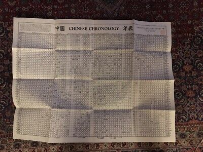 Oriental Culture Chart Chinese Chronology W.M. Hawley #19 27 X 35 1946