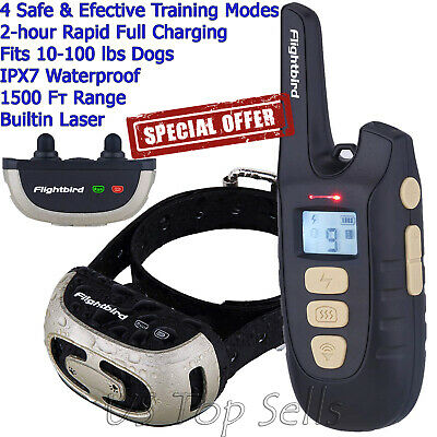 Dog Shock Training Collar Remote Electric Rechargeable Waterproof XS-XL 1650Ft