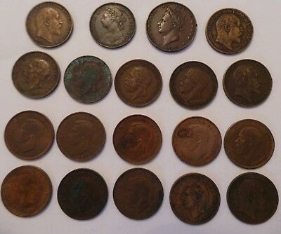 Job Lot Of Vintage British Copper Farthings - George Iv, Victoria, Edward