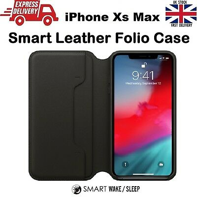 For iPhone Xs Max Luxury Leather Folio Smart Sleep & Wake Wallet Flip Case Cover