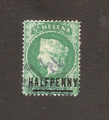 St Helena 1884 Qv Halfpenny Emerald Surcharge Definitive Sg34 Used