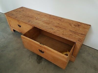 Very Large Old Antique Wooden Pine Storage Chest Blanket Trunk