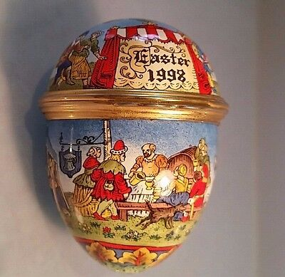 Enamel pill box egg  with medieval design easter 1998 metal fittings