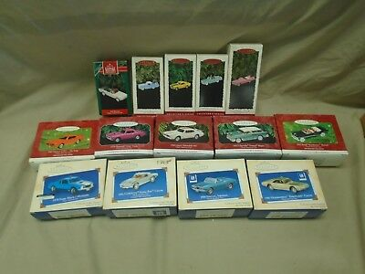 (14) Hallmark Keepsake Ornaments, Classic American Cars Series, all with boxes