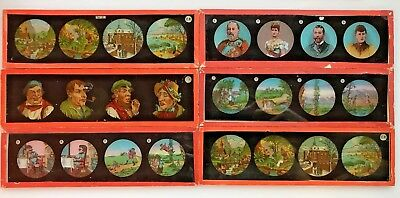 Antique Magic Lantern Slides Lot of 6 Misc. Subjects People Scenery Houses E.P.