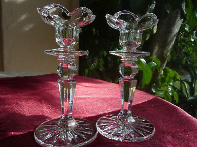 Vintage Gorgeous Tall Elegant Crystal Set Of Two Taper Candleholders