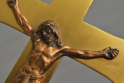 ⭐ ancient religious cross gold plated,crucifix,christ bronze