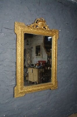 Beautiful Antique Gilt Framed French Wall Mirror ~ Foxed Glass ~ Decorative Size