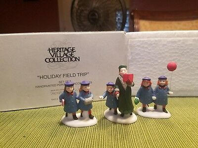 Boxed Dept 56 Heritage Village Holiday Field Trip #5885-8 Set of 3