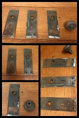 4 Door Backplates Knob Escutcheon Hardware Antique Retro Old Late 1800s - 1900s
