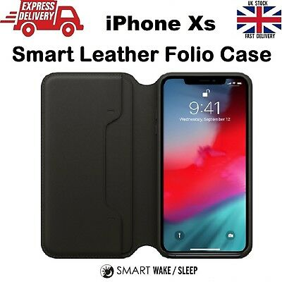 For iPhone Xs 10s Luxury Leather Folio Smart Sleep & Wake Wallet Flip Case Cover