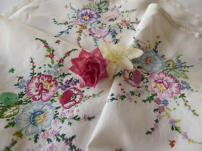 Vintage Hand Embroidered Tablecloth=Assorted Beautiful Floral Bouquets -