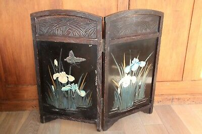 Antique Asian Japanese Chinese table tea fire wooden bamboo folding screen