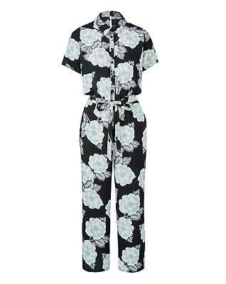 New Womens Printed Shirt Culotte Jumpsuit