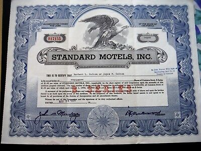 Standard Motels Stock Certificate