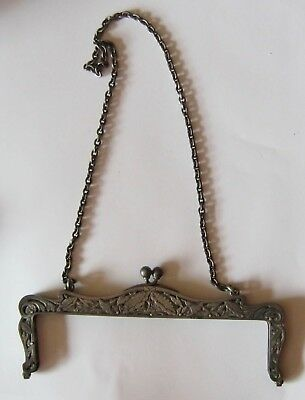 Antique STERLING Art Nouveau Very Ornate PURSE FRAME with Chain Stamped