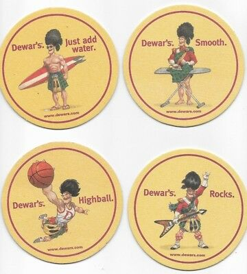New - DEWAR'S Coasters - 4 Scotsman - Different Poses