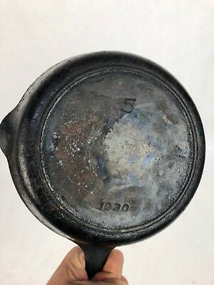 """Griswold 1030 Iron Mountain Cast Iron Skillet #5 8"""" Pan Heat Ring Vtg Antique"""