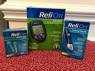 Reli On Prime Blood Glucose Monitoring System Lancing Device, Lancets NEW/SEALED