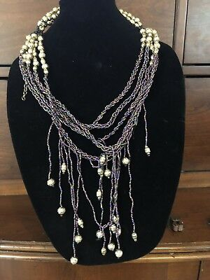 Purple And Antique Gold Plated Multi Strand Bead Statement Necklace #385