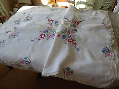 Vintage Hand Embroidered Tablecloth= Stunning Floral Circle/raised Embroidery