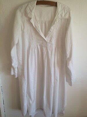 Victorian Style Lovely Quality White Cotton Embroidered Night shirt 14 16