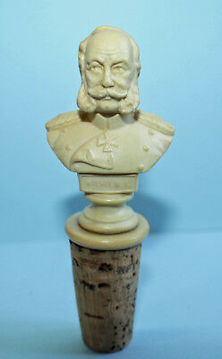 Antik Zierkorken Kaiser Wilhelm I. #86631 Flaschenkorken Antique Bottle Stopper