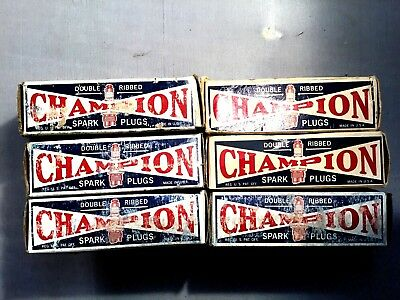 Lot of Antique Champion 3X Spark Plugs in Box Champion Bowers -Vintage Car Parts