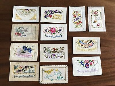 Lot Of Old Postcards Embroidered Ww1 France