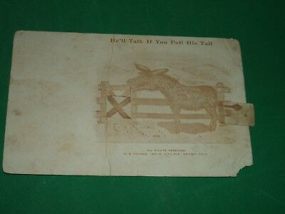 Vintage 1908 Mechanical Postcard Pull The Tail On The Talking Donkey